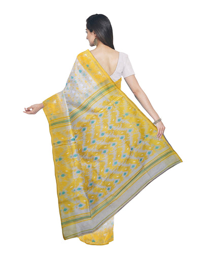 White Yellow Bengal Handloom Jamdani Saree