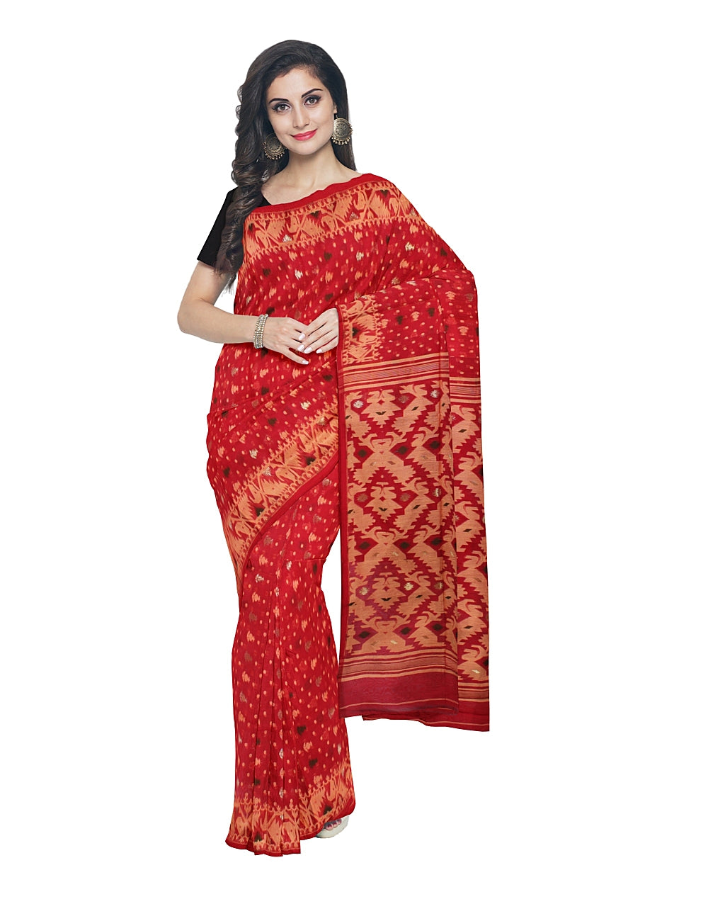 Red and Beige Bengal Handloom Jamdani Saree