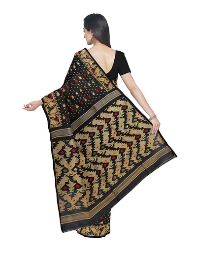 Black and Beige Bengal Handloom Jamdani Saree