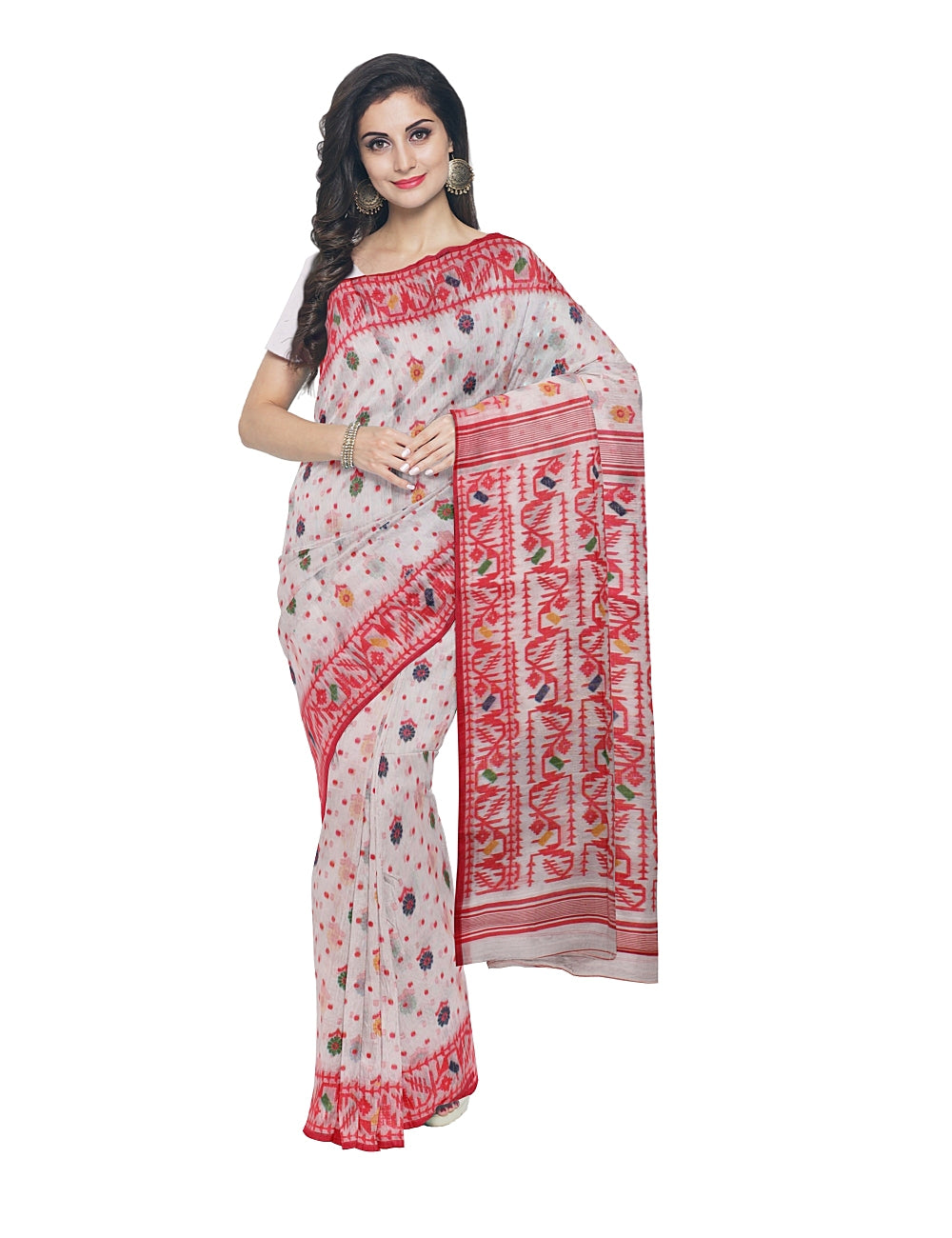 White and Red Bengal Handloom Jamdani Saree