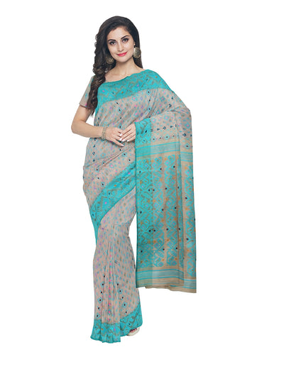 Beige and Cyan Bengal Handloom Jamdani Saree