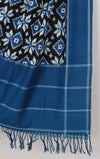 Blue Black Handloom Ikat Cotton Dupatta