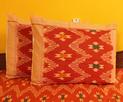 Orange and Biscuit Handwoven Double Cot Cotton Bed Sheet