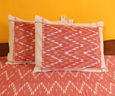 Pink and White Handwoven Double Cot Cotton Bed Sheet