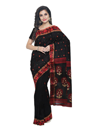 Bengal Handloom Black Tant Cotton Saree