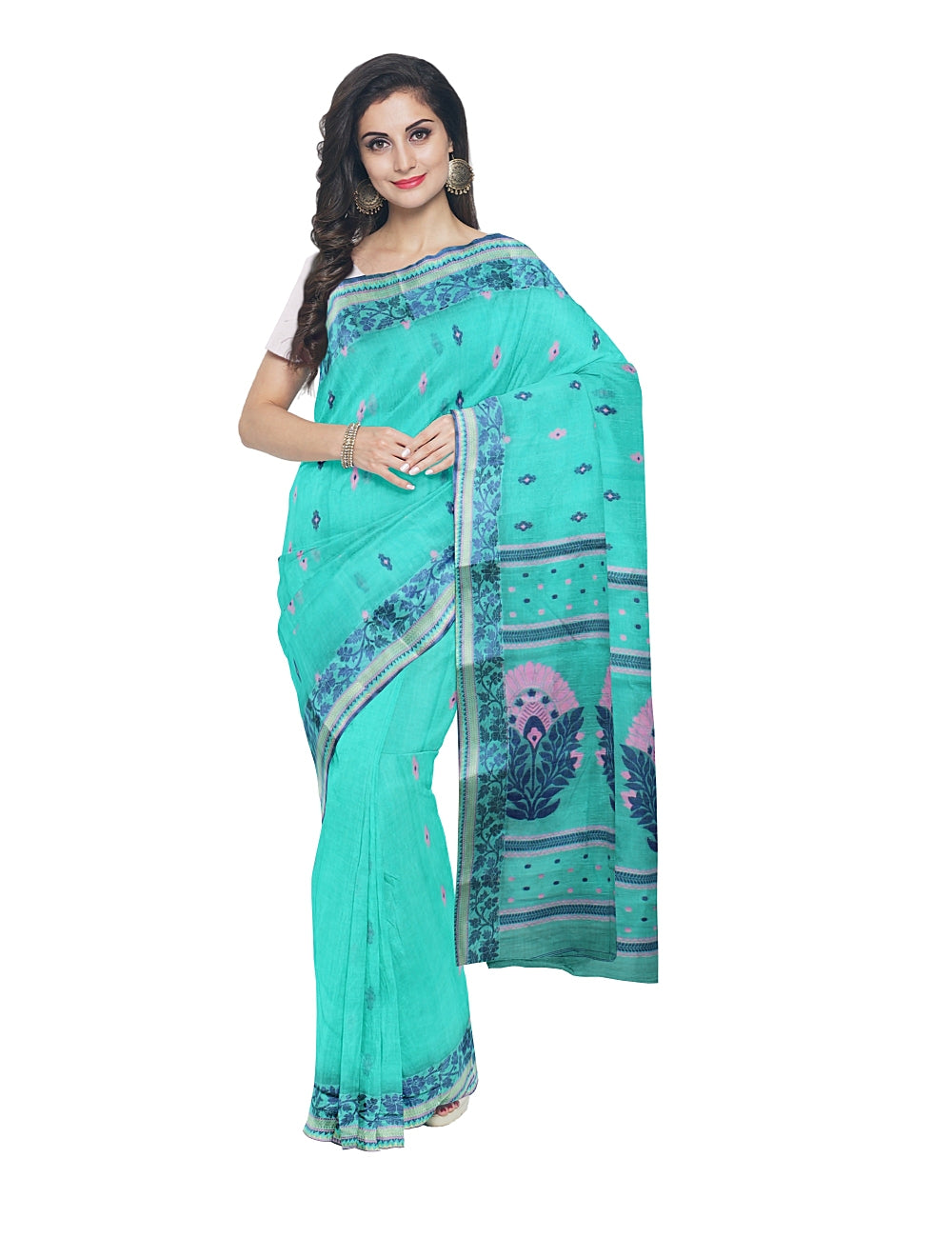 Bengal Handloom Cyan Green Tant Cotton Saree