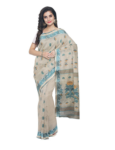 Bengal Handloom Off white Tant Cotton Saree