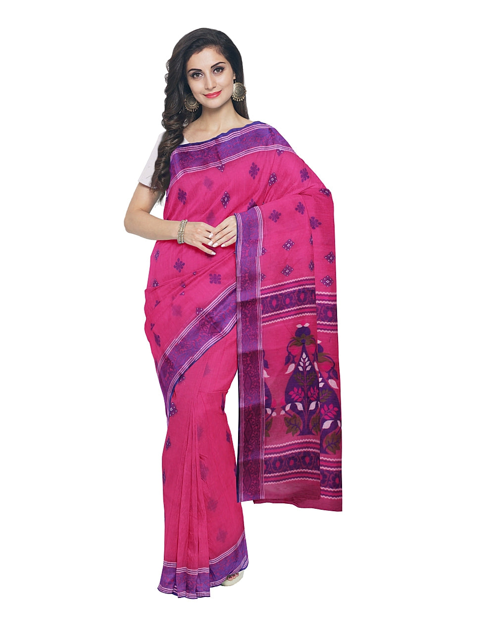 Pink Tant Cotton Handloom Bengal Saree