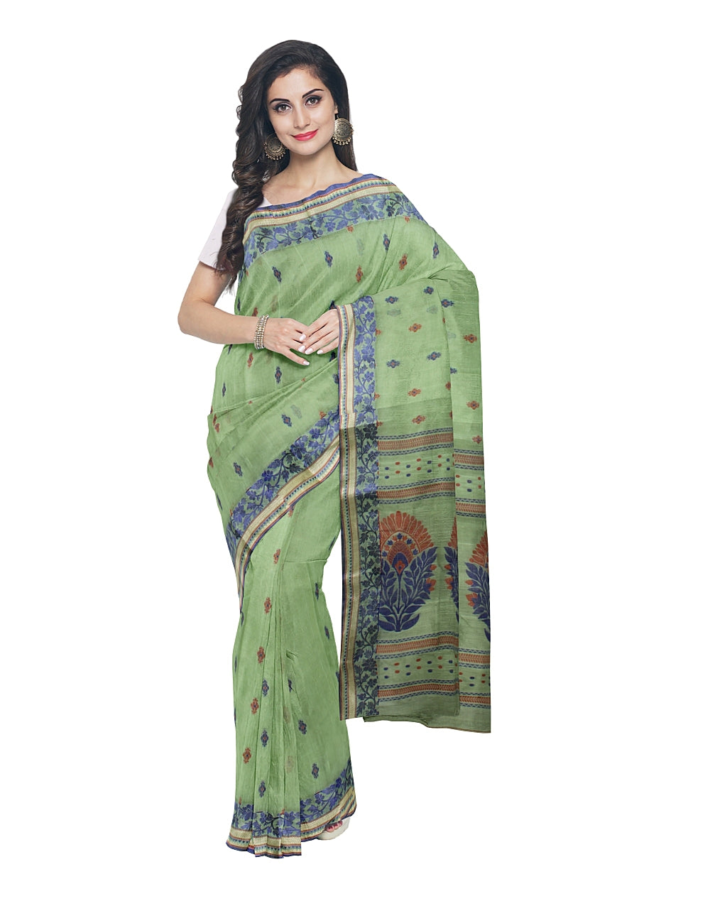 Bengal Handloom Light Green Cotton Tant Saree