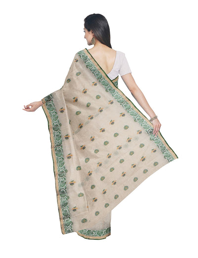 Bengal Handloom Beige Green Cotton Tant Saree