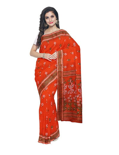 Bengal Handloom Orange Tant Cotton Saree