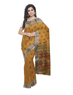 Brown Bengal Handloom Tant Cotton Saree