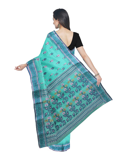Bengal Handloom Sea Green Tant Cotton Saree