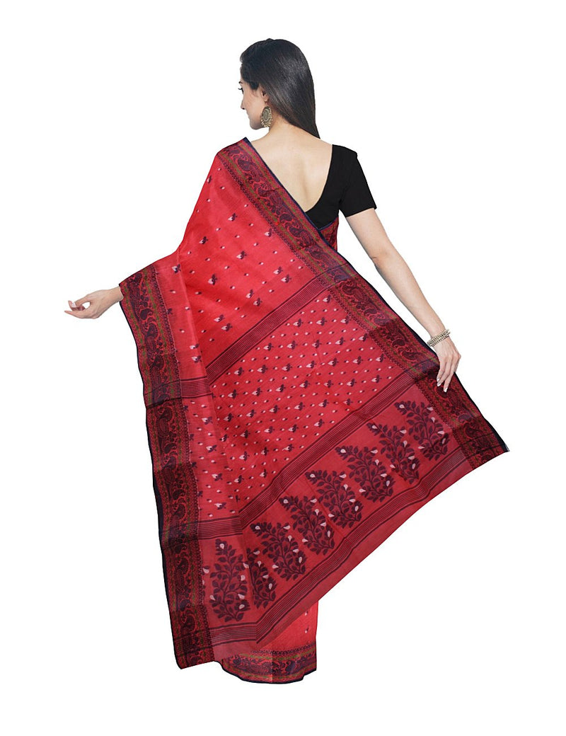 Pinkish Red Bengal Handloom Tant Cotton Saree