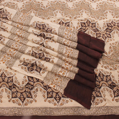 Kalamkari Block Art Silk Saree In Beige Color