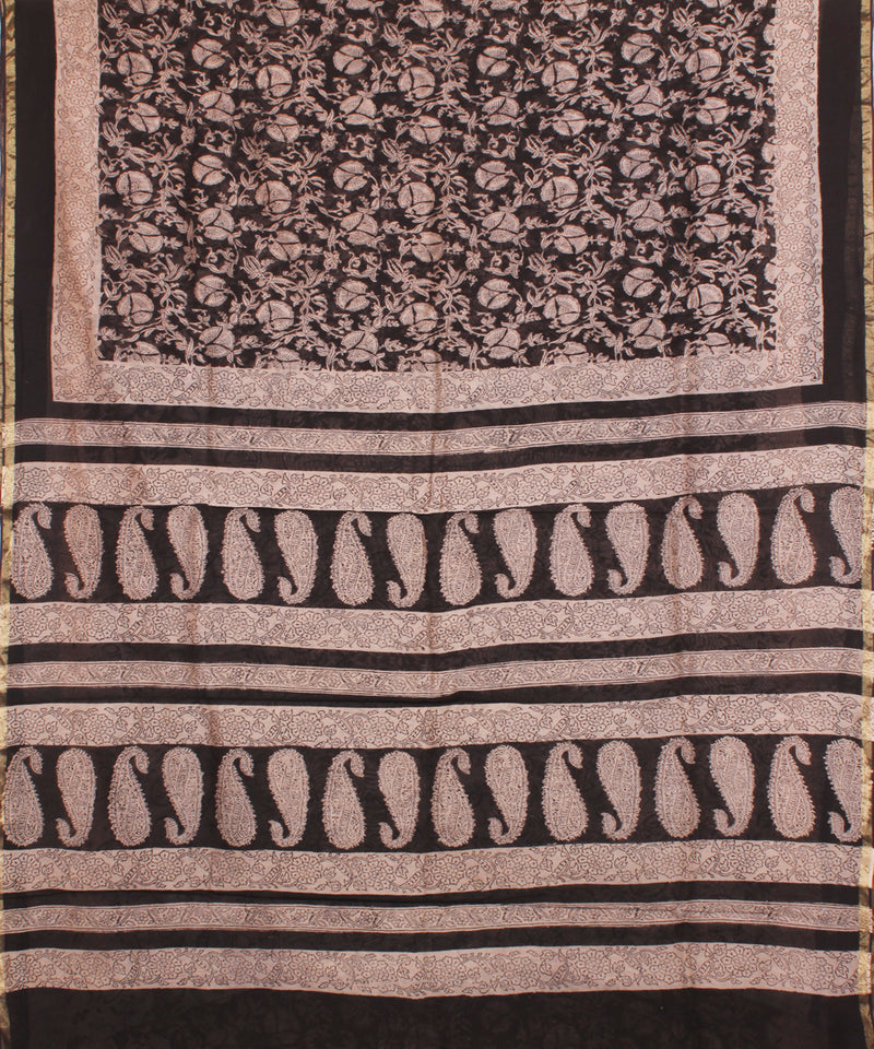 Black Chanderi Block Printed Kalamkari Saree