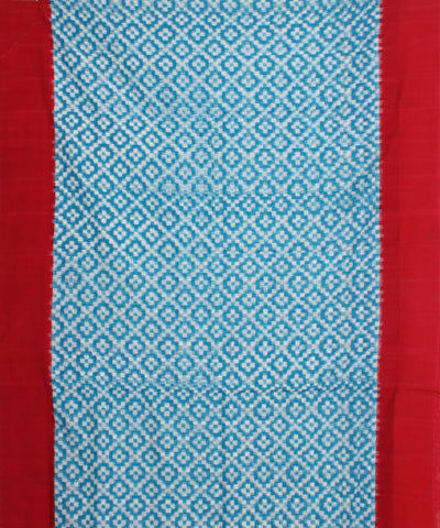 Blue Red Handloom Ikat Cotton Saree