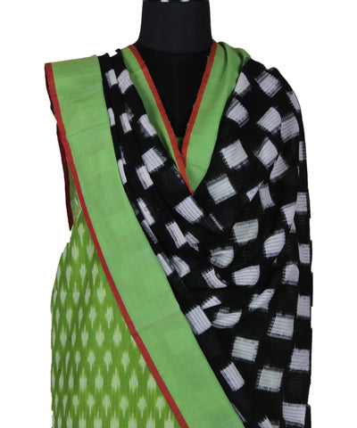 Green Handwoven Ikat Cotton Dress Material