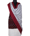 Maroon Handwoven Ikat Cotton Dress Material
