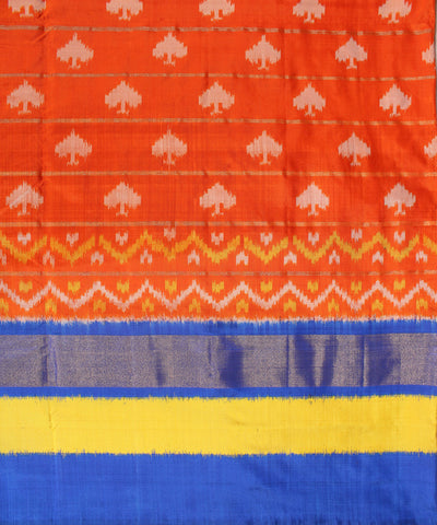 Orange and Blue Handloom Ikat Rajkot Silk Saree