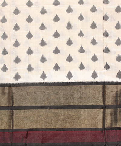 Handloom Ikat Rajkot Silk Saree In White Shade