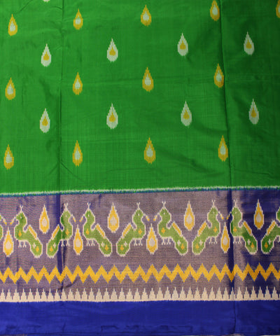 Green and Blue Handloom Ikat Rajkot Silk Saree
