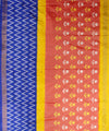 Handloom Ikat Rajkot Silk Saree In Rust and Blue Shade