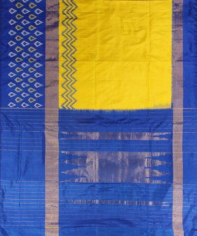 Yellow and Royal Blue Handloom Ikat Rajkot Silk Saree