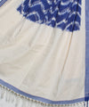 Blue and White Handloom Ikat Cotton Dupatta