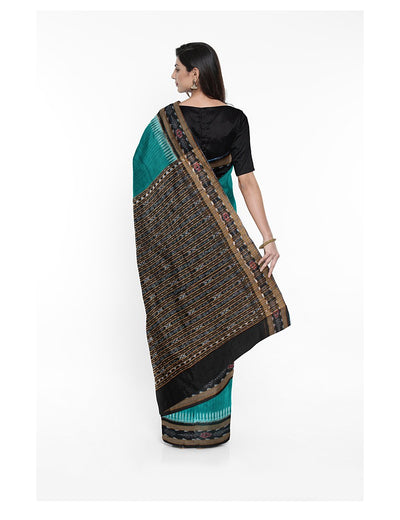 Sea Blue Black Sambalpuri Cotton Ikat Saree