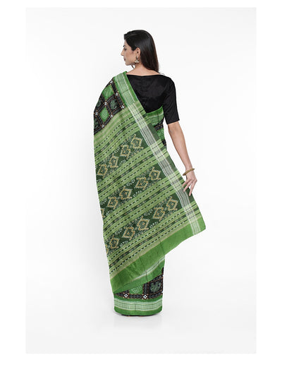 Black Green Sambalpuri Cotton Ikat Saree