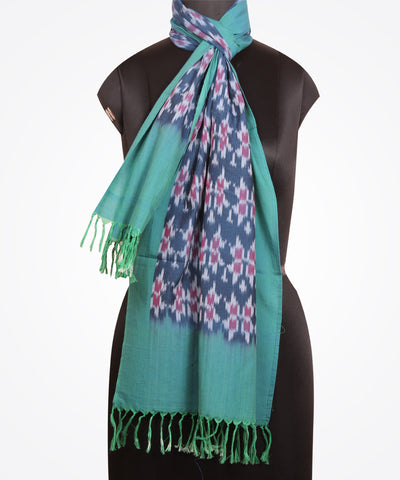 Handloom Ikat Cotton Stole In Blue Color