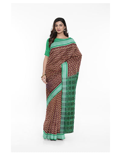 Coffee Brown Sambalpuri Handloom Cotton Saree