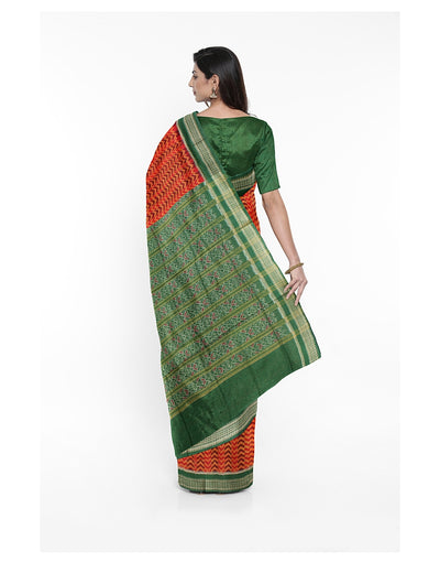 Orange Green Sambalpuri Handloom Cotton Saree