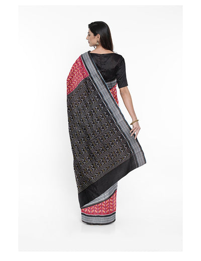 Fuchsia Pink Black Ikat Handloom Cotton Saree