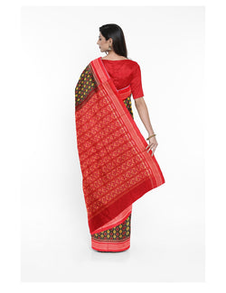 Green Red Sambalpuri Handloom Cotton Saree