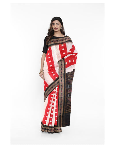 Red White Stripe Ikat Handloom Cotton Saree