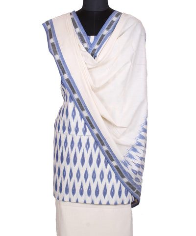 White Blue Handloom Pochampally Cotton Suit