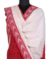 Red White Handloom Pochampally Cotton Suit