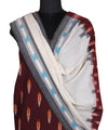 Handwoven Maroon Pochampally Ikat Cotton Suit