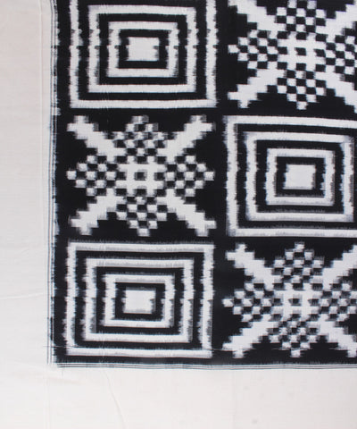 Black and White Double Ikat Handloom Bedsheet