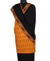 Yellow Black Handwoven Ikat Cotton Suit