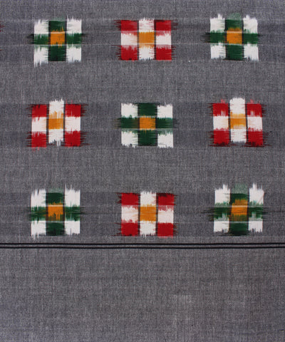 Grey Handwoven Double Ikat in Multi Color