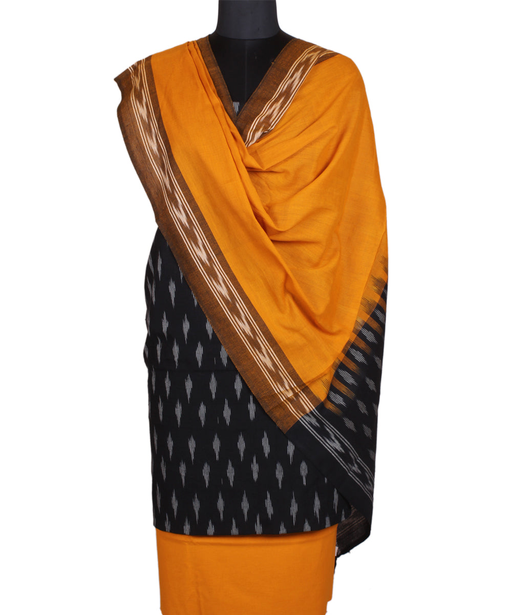 Handwoven Black Yellow Ikat Cotton Suit