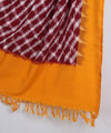 Maroon Yellow Handloom Ikat Cotton Dupatta