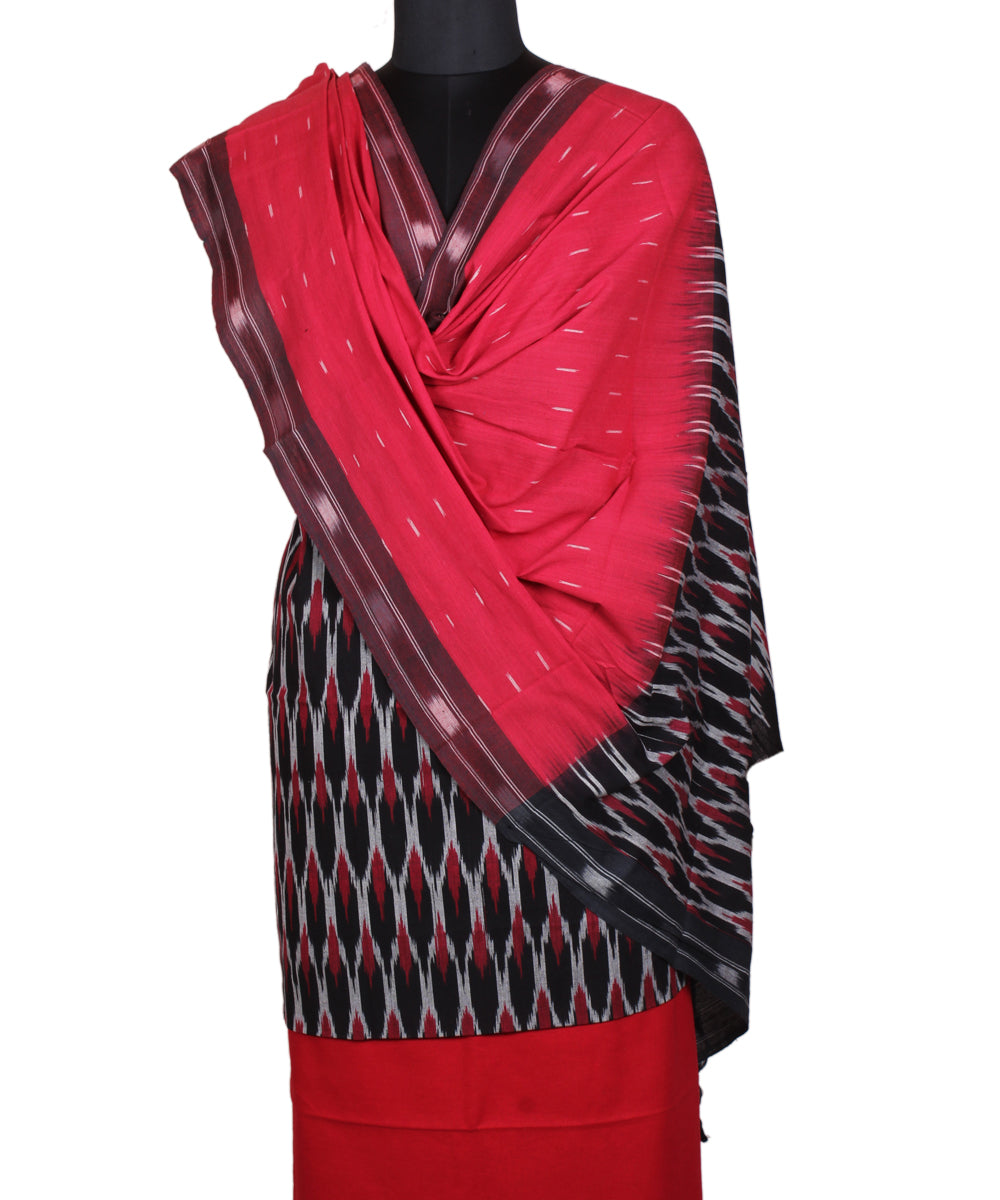 Handloom Red Black Ikat Cotton Suit