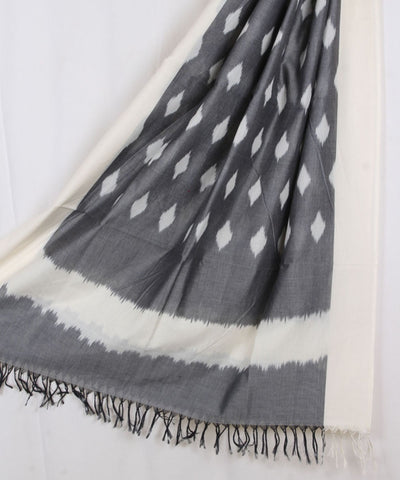 Grey Handloom Ikat Cotton Dupatta