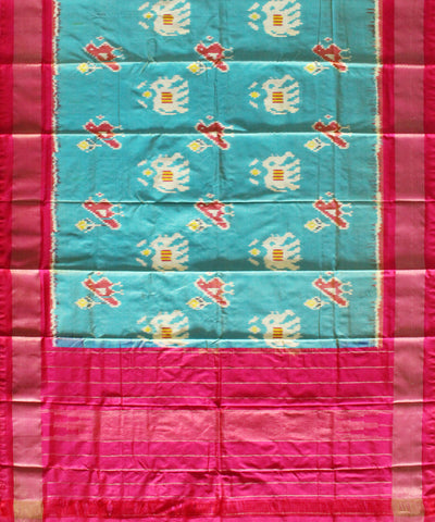 Light Turquoise Green Handloom Ikat Silk Dupatta