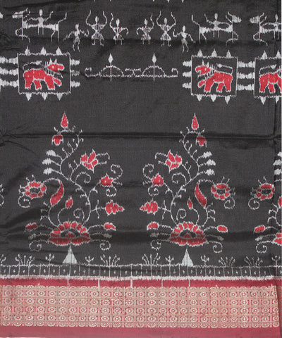 Handwoven Sambalpuri Ikat Silk Saree in Black