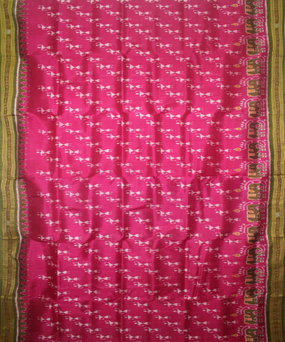 Handloom Khandua Silk Saree Pink Green